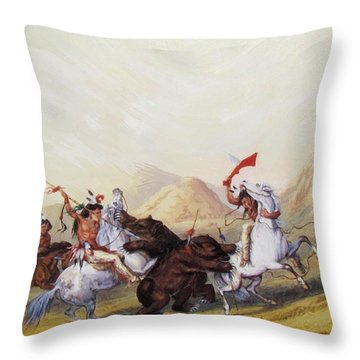 Attacking The Grizzly Bear 1844 Throw Pillow