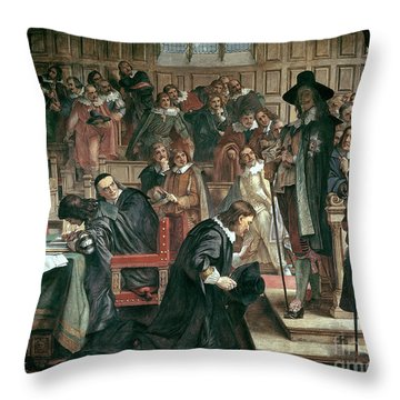 Attempted Arrest Of 5 Members Of The House Of Commons By Charles I Throw Pillow by Charles West Cope