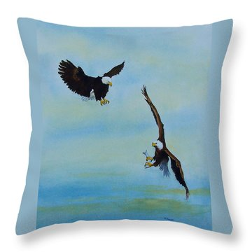 A Fight About Fish Throw Pillow