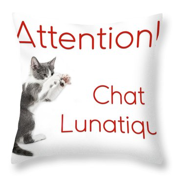 Throw Pillow featuring the photograph Attention Chat Lunatique by Endre Balogh