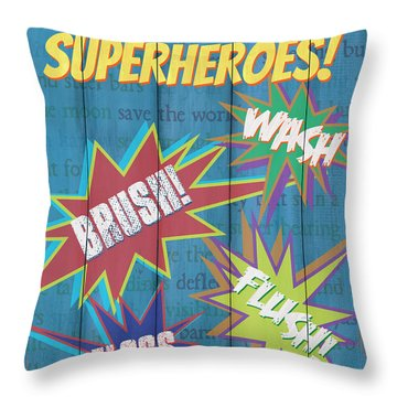 Attention Superheroes Throw Pillow
