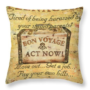 Attention Teenagers Throw Pillow by Debbie DeWitt