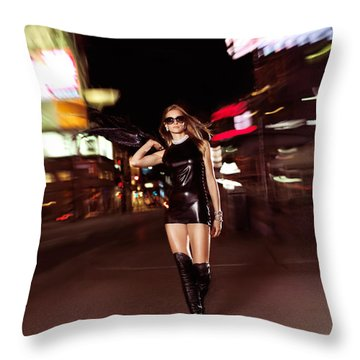 Attractive Young Woman Walking Down The Street At Night Throw Pillow by Oleksiy Maksymenko
