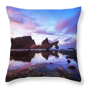 Atuh Beach Dawn Break Scene Throw Pillow