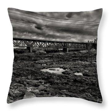Auburn Lewiston Railway Bridge Throw Pillow by Bob Orsillo