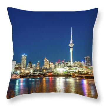 Auckland At Dusk Throw Pillow