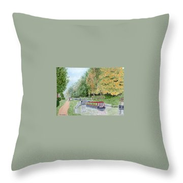 Audlem Lock, Shropshire Union Canal Throw Pillow by Peter Farrow