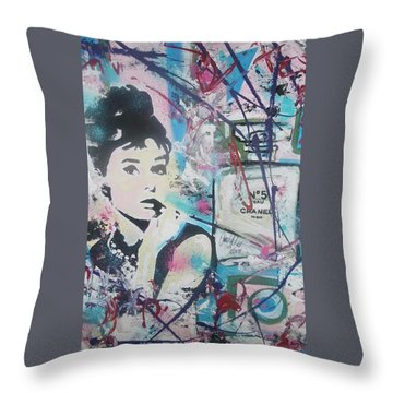 Audrey Chanel Throw Pillow