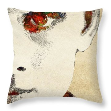 Audrey Half Face Portrait Throw Pillow by Mihaela Pater