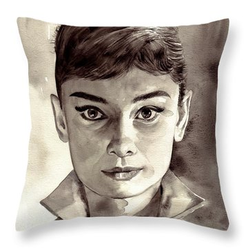 Audrey Hepburn Black And White Throw Pillow