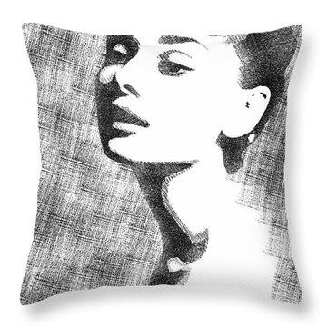 Audrey Hepburn Bw Portrait Throw Pillow by Mihaela Pater
