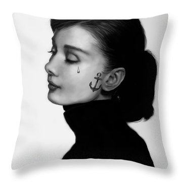 Audrey Hepburn Inked Throw Pillow