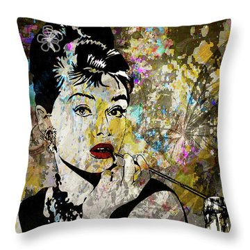 Audrey Hepburn Tribute  Throw Pillow by Angela Holmes