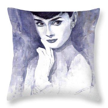 Audrey Hepburn  Throw Pillow by Yuriy  Shevchuk