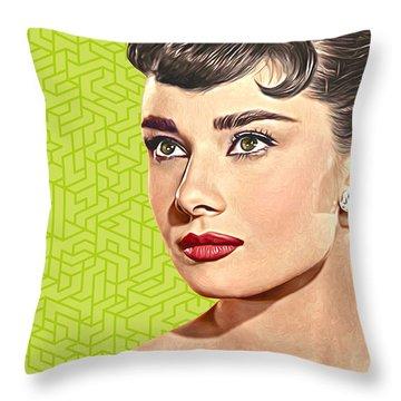 Audrey Hepburn_popart06-3 Throw Pillow by Bobbi Freelance