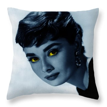 Audrey In Blue Throw Pillow