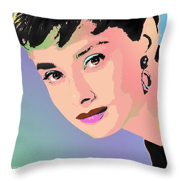 Throw Pillow featuring the digital art Audrey by John Keaton