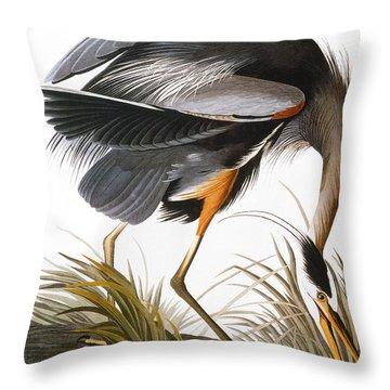 Audubon: Heron Throw Pillow by Granger