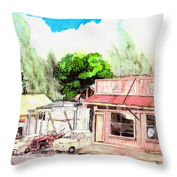 Throw Pillow featuring the painting Auggies Pool Hall by Eric Samuelson