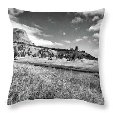 August At Wyoming Devils Tower Panorama 03 Bw Throw Pillow