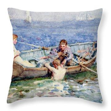 August Blue Throw Pillow by Henry Scott Tuke