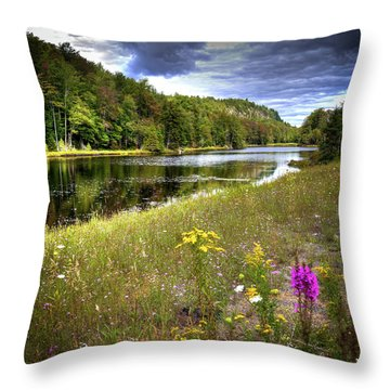 Throw Pillow featuring the photograph August Flowers On The Pond by David Patterson