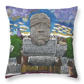 August  Olmec Head Throw Pillow