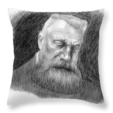Throw Pillow featuring the digital art Auguste Rodin by Antonio Romero