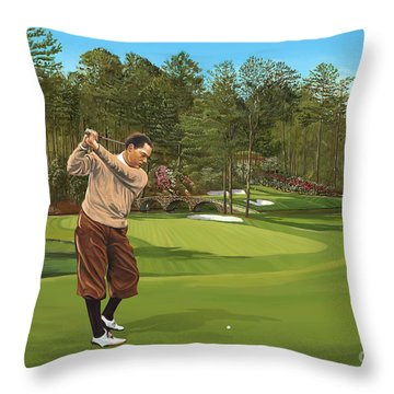 Augusta 11 And 12th Hole Bobbyjones Throw Pillow