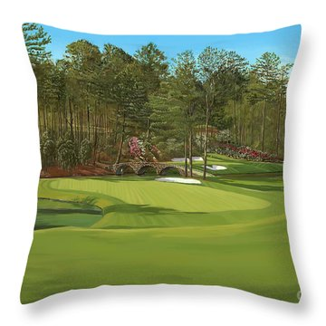 Augusta 11 And12th Hole Throw Pillow