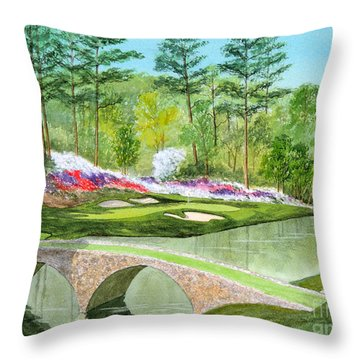 Augusta National Golf Course 12th Hole Throw Pillow by Bill Holkham