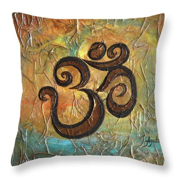 Throw Pillow featuring the painting Aum by Agata Lindquist