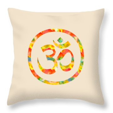 Aum Symbol Abstract Digital Painting Throw Pillow by Georgeta Blanaru