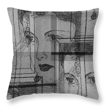 Aunt Edie Black And White Print Throw Pillow