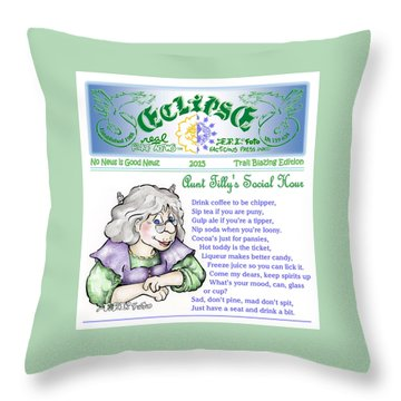Real Fake News Tilly's Social Hour Throw Pillow by Dawn Sperry