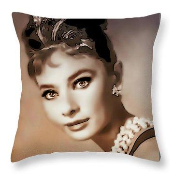 Aurdrey Hepburn - Famous Actress Throw Pillow