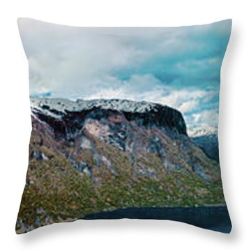 Aurlandsfjorden Panorama Revisited Throw Pillow