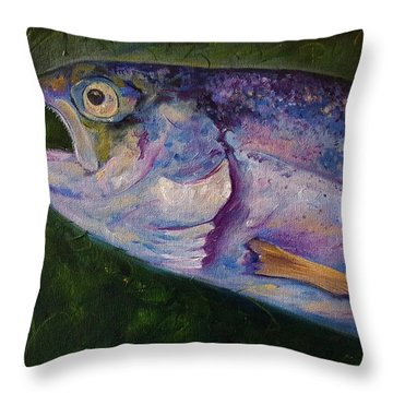 Aurons Rainbow Trout Throw Pillow