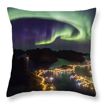 Aurora Above Reine Throw Pillow by Alex Conu