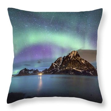 Aurora Above Reinefjord Throw Pillow