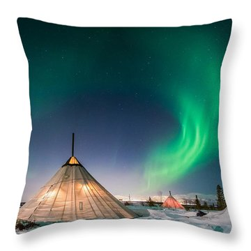 Aurora Above Sami Tent Throw Pillow