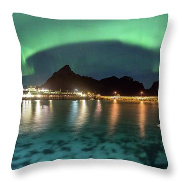 Aurora Above Turquoise Waters Throw Pillow
