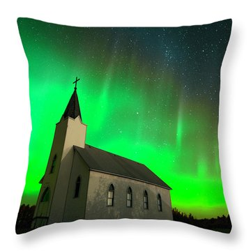 Aurora And Country Church Throw Pillow by Dan Jurak