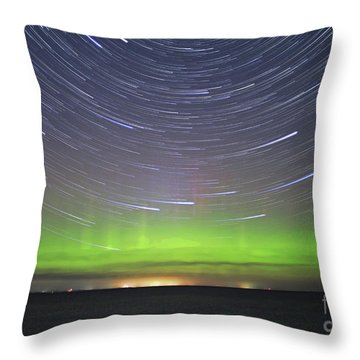 Aurora And Startrails Throw Pillow by Charline Xia