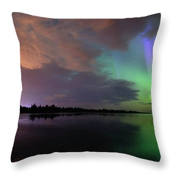 Aurora And Storm Clouds Throw Pillow