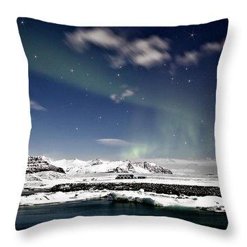 Aurora At Glacier Lagoon Throw Pillow by Roddy Atkinson