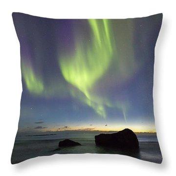 Aurora At Uttakleiv Throw Pillow