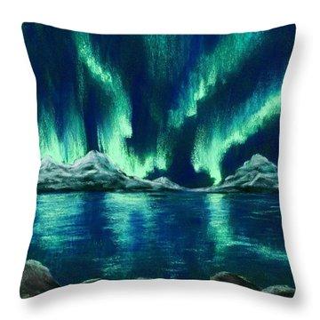 Throw Pillow featuring the pastel Aurora Borealis by Anastasiya Malakhova