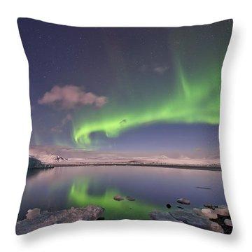 Aurora Borealis And Reflection #2 Throw Pillow