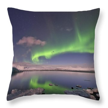 Throw Pillow featuring the photograph Aurora Borealis And Reflection #2 by Wanda Krack